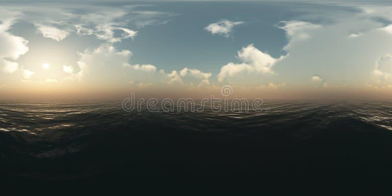 Panorama boven de oceaan bij zonsondergang stock illustratie