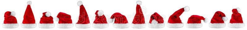 Panorama branco vermelho do chapéu de Papai Noel fotografia de stock royalty free