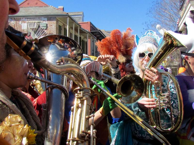Panorama Brass Band Mardi Gras 2016 royalty free stock photos