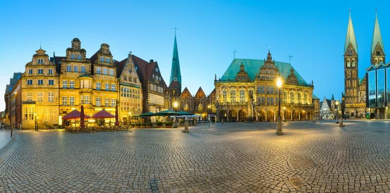 Panorama of Bremen Market Square, Germany stock image