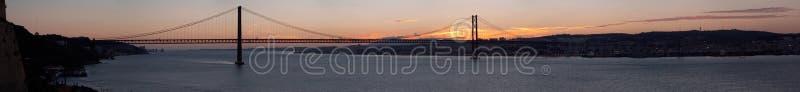 Panorama of bridge 25 de Abril Lisbon, Portugal royalty free stock photo