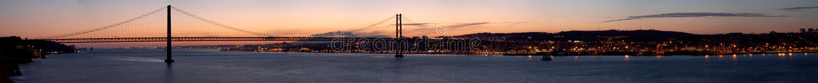 Panorama of bridge 25 de Abril Lisbon, Portugal royalty free stock image