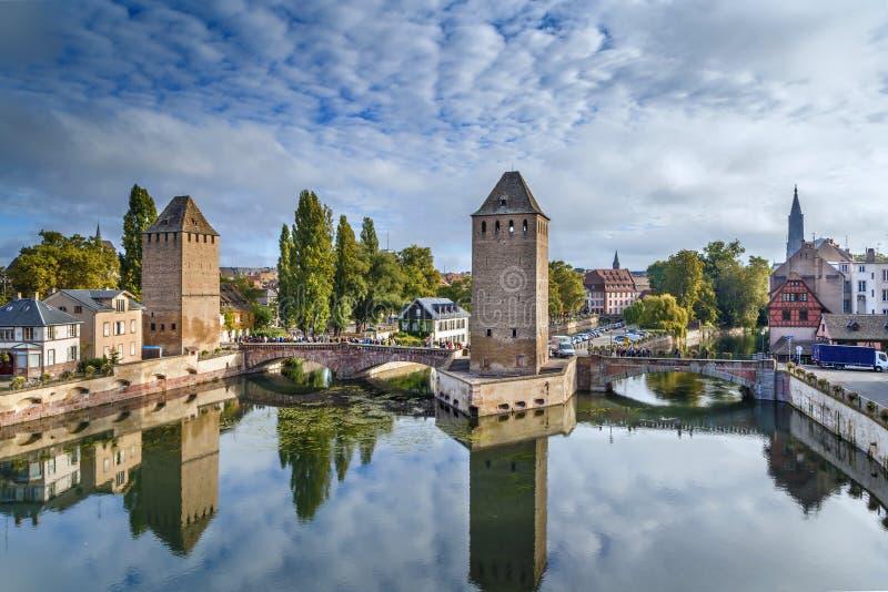 Panorama of bridge Ponts Couverts, Strasbourg. Panorama of medieval bridge Ponts Couverts from the Barrage Vauban in Strasbourg, France stock image