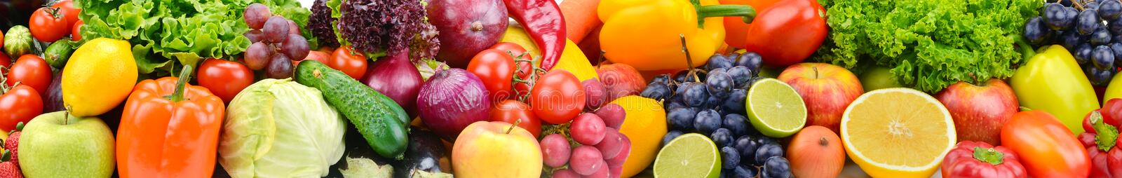 Panorama bright vegetables and fruits. Food background. Panorama bright colorful vegetables and fruits. Food background stock images