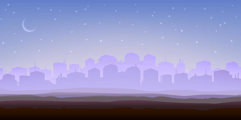Panorama brumoso de la ciudad por la mañana libre illustration
