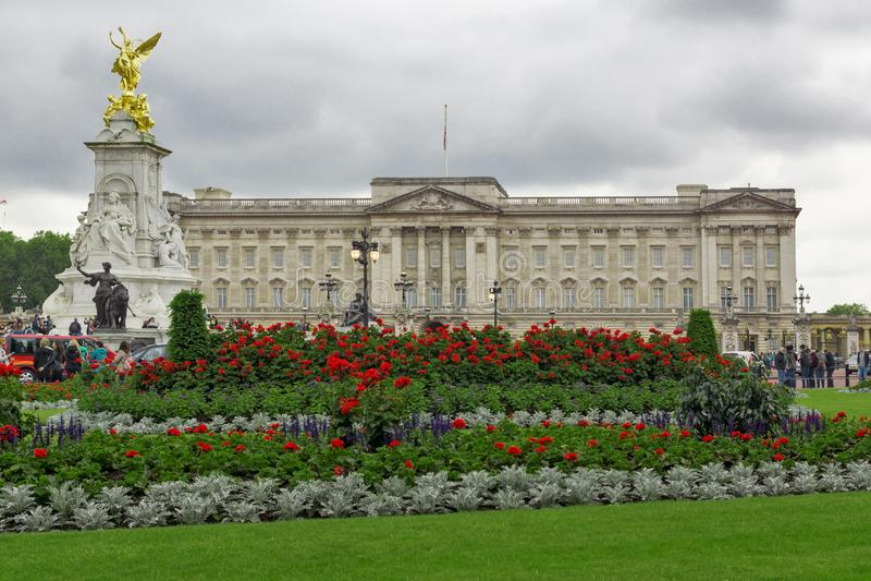 Panorama of Buckingham Palace London, England, Great Britain. LONDON, ENGLAND - JUNE 17, 2016: Panorama of Buckingham Palace London, England, Great Britain royalty free stock photo