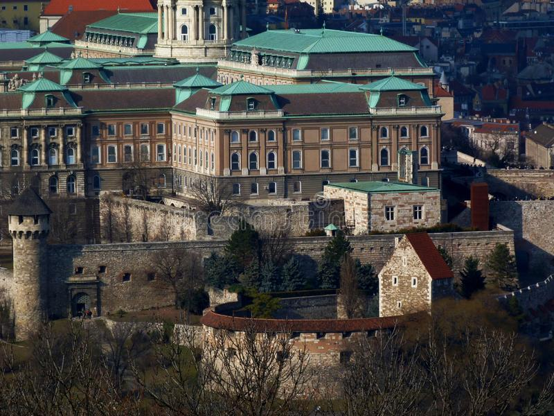 Panorama of the Buda castle in Budapest from the Gellert Hill royalty free stock photography