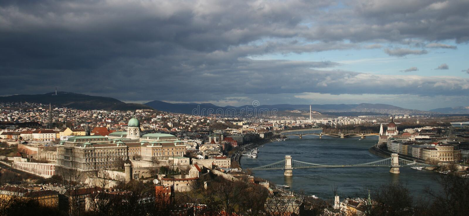 Panorama of the Budapest stock image