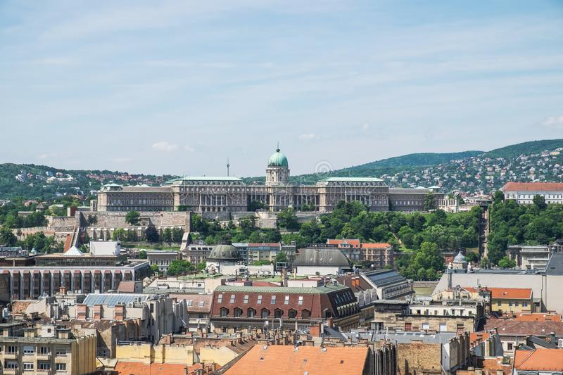 Panorama of Budapest and Castle Royal Palace from top of the St. Stephen`s Basilica, Budapest royalty free stock photos