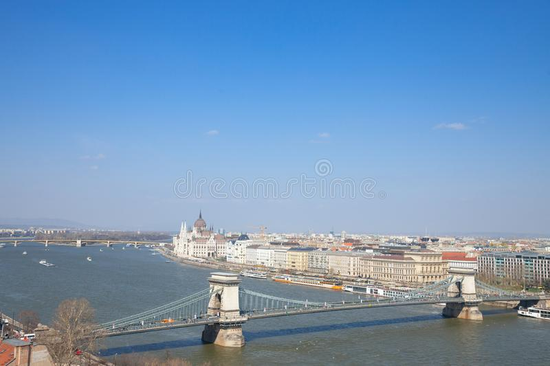 Panorama of Budapest with the Hungarian Parliament orszaghaz seen from the Budapest castle. Picture of the Danube river in Budapest, capital city of Hungary royalty free stock images