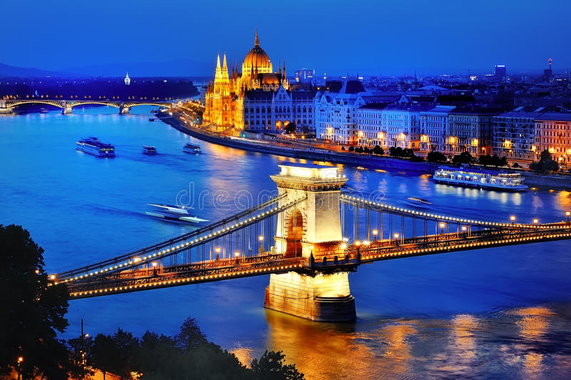 Panorama of Budapest, Hungary, with Danube river, Chain Bridge and the Parliament at blue hour stock image