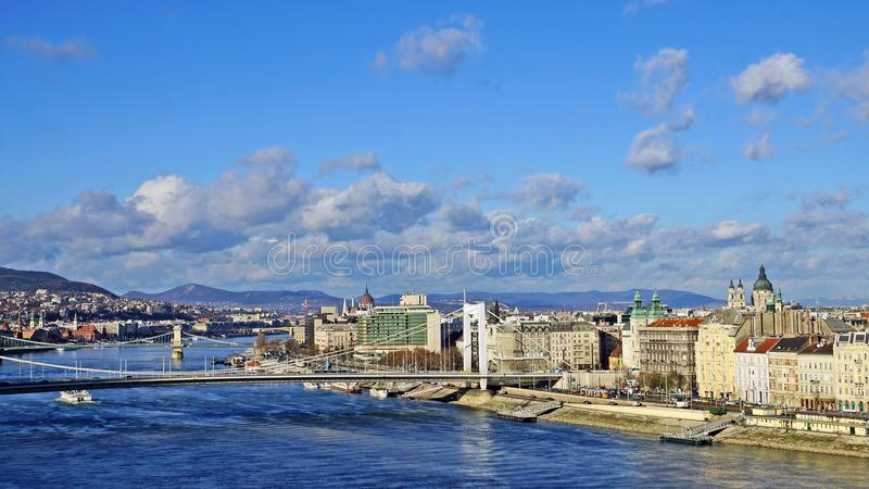 Panorama Budapest na nieba tle, Węgry obrazy royalty free
