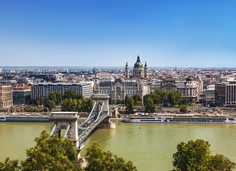 Panorama of Budapest with the Szechenyi Chain Bridge and St. Stephen`s Basilica,. Hungary royalty free stock images