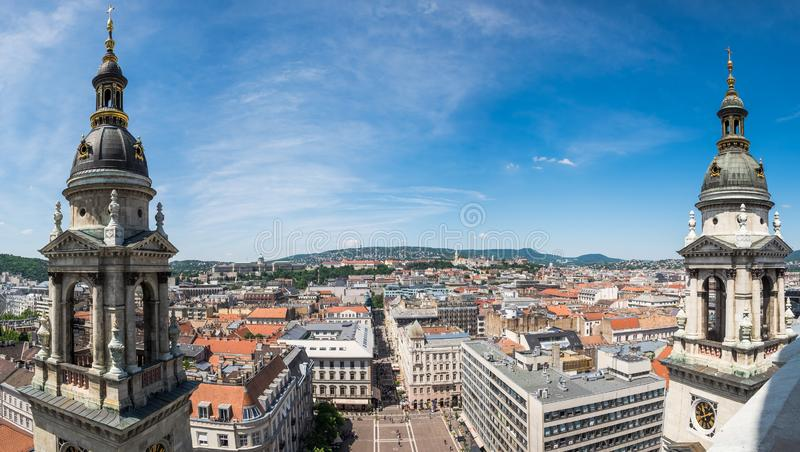 Panorama of Budapest from top of the St. Stephen`s Basilica, Budapest royalty free stock photography
