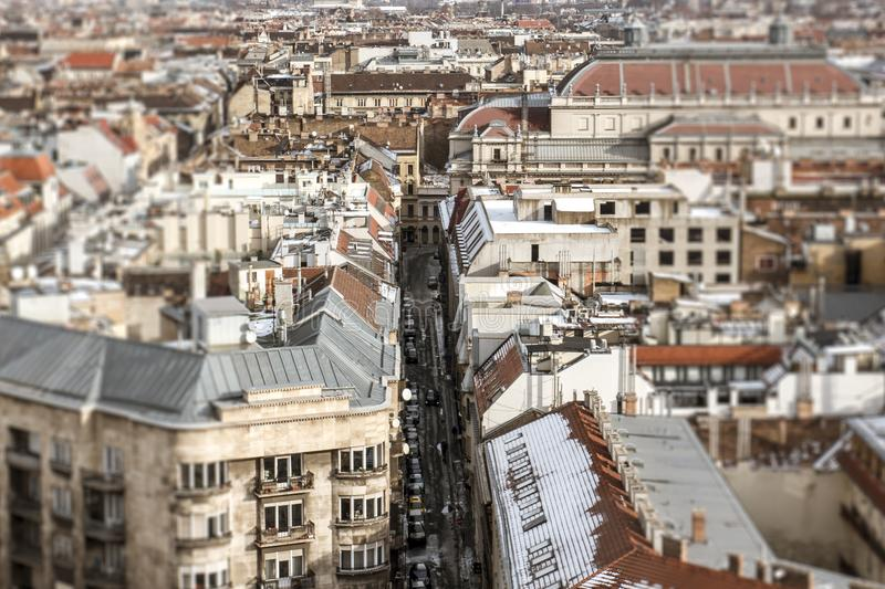 Panorama of Budapest with a view of the old house and the street stock images