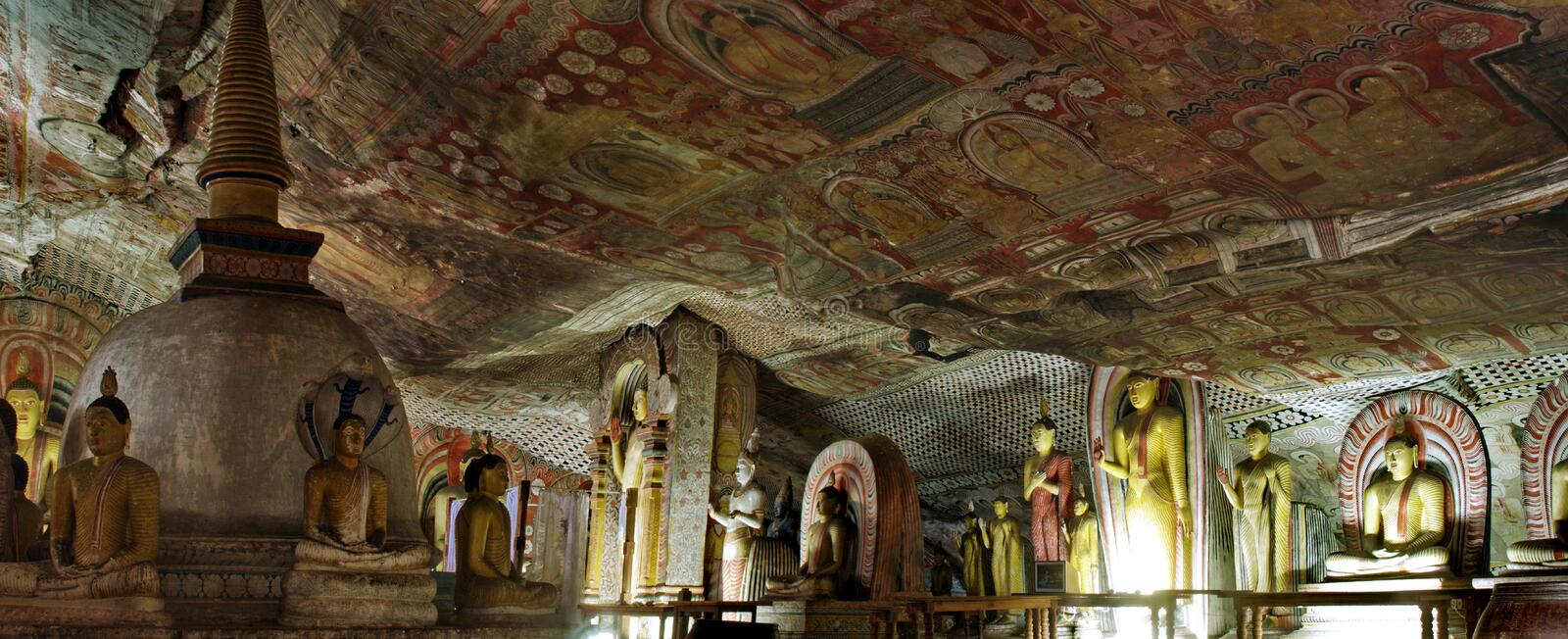 Panorama with Buddha statue and paint in Dambulla Cave Temple stock images