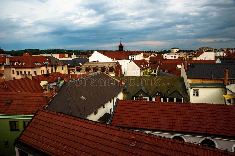 Panorama of buidling roofs, Uherske Hradiste. Panorama view of old buildings roofs in the heart of the historical town Uherske Hradiste, Czech republic royalty free stock photo