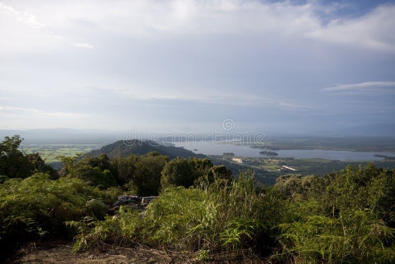 Panorama Bukit Merah jezioro od góry Semanggol wysokiego szczytu zdjęcia royalty free