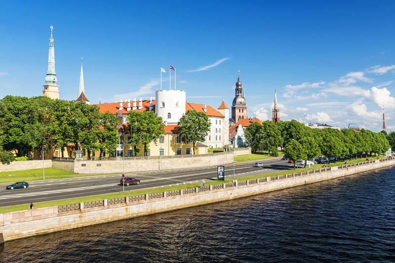 Panorama bulwar Ryski, Latvia fotografia stock