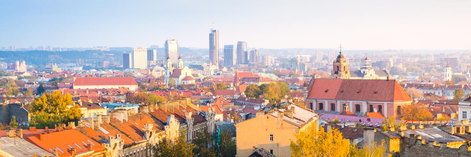 Panorama of the business centre of Vilnius. Lithuania stock photo