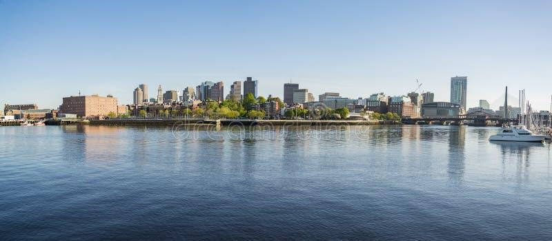 Panorama céntrico del horizonte de Boston, los E.E.U.U. foto de archivo libre de regalías