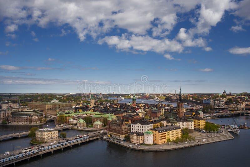 Panorama cênico da cidade velha (Gamla Stan) em Éstocolmo imagem de stock royalty free