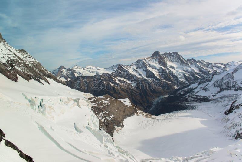 Panorama cênico da grande região de Jungfrau da geleira de Aletsch imagem de stock