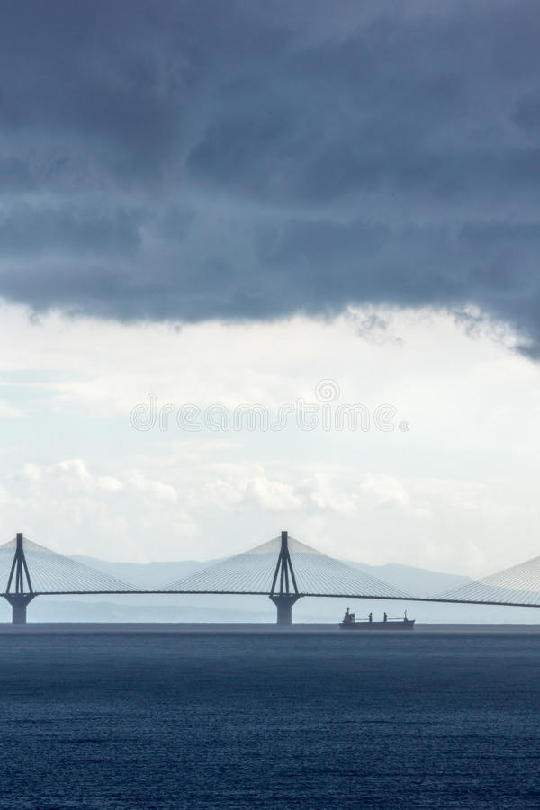 Panorama of The cable bridge between Rio and Antirrio from Nafpaktos, Patra, Greece. Panorama of The cable bridge between Rio and Antirrio from Nafpaktos, Patra royalty free stock image