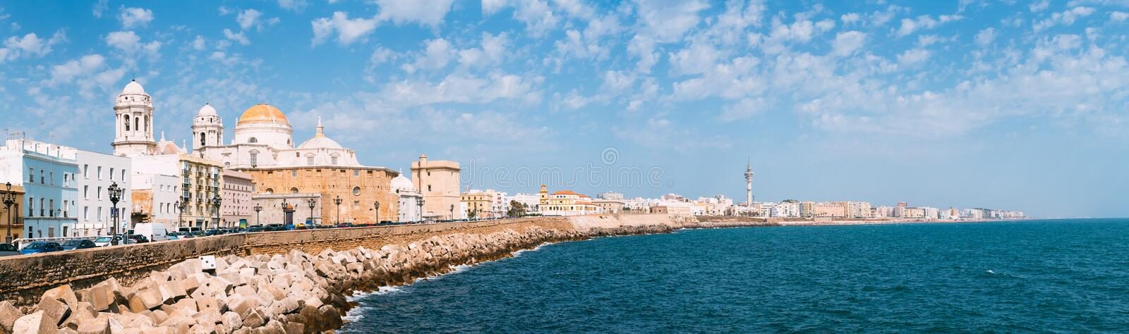 Panorama of Cadiz Cathedral and old town cityscape royalty free stock photography