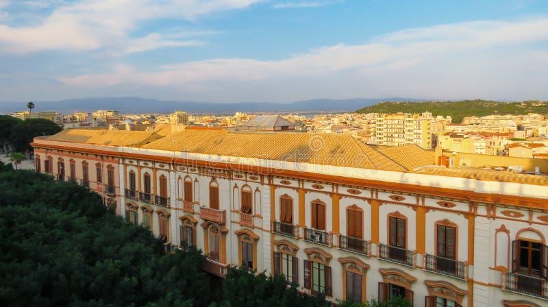 Panorama Cagliari capital city in the evening sun, Sardinia, Italy royalty free stock photos