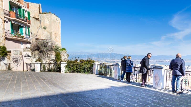 Panorama Cagliari, Sardinia wyspa, Włochy fotografia stock