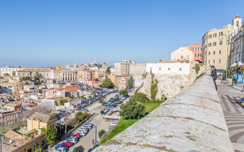 Panorama Cagliari, Sardinia wyspa, Włochy zdjęcie royalty free