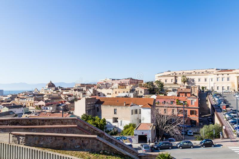Panorama Cagliari, Sardinia wyspa, Włochy fotografia royalty free
