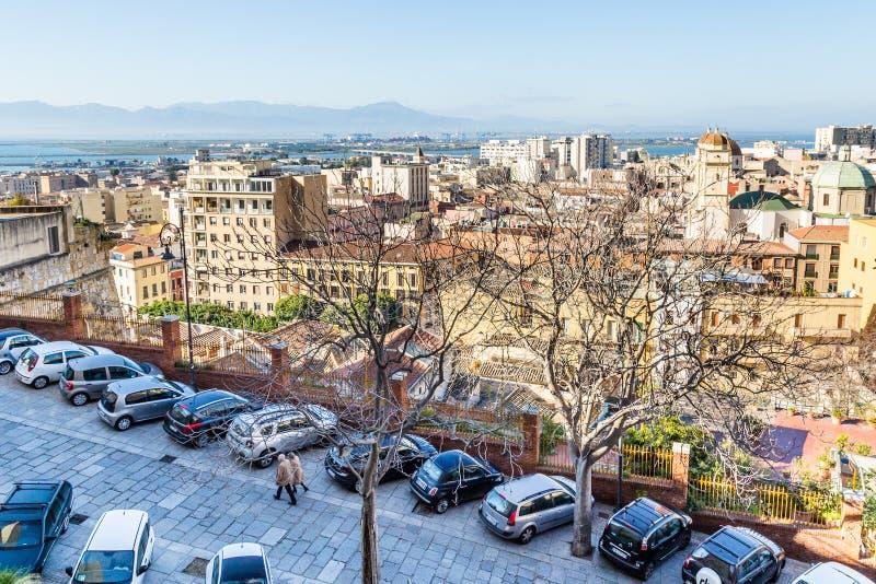 Panorama Cagliari, Sardinia wyspa, Włochy zdjęcia stock