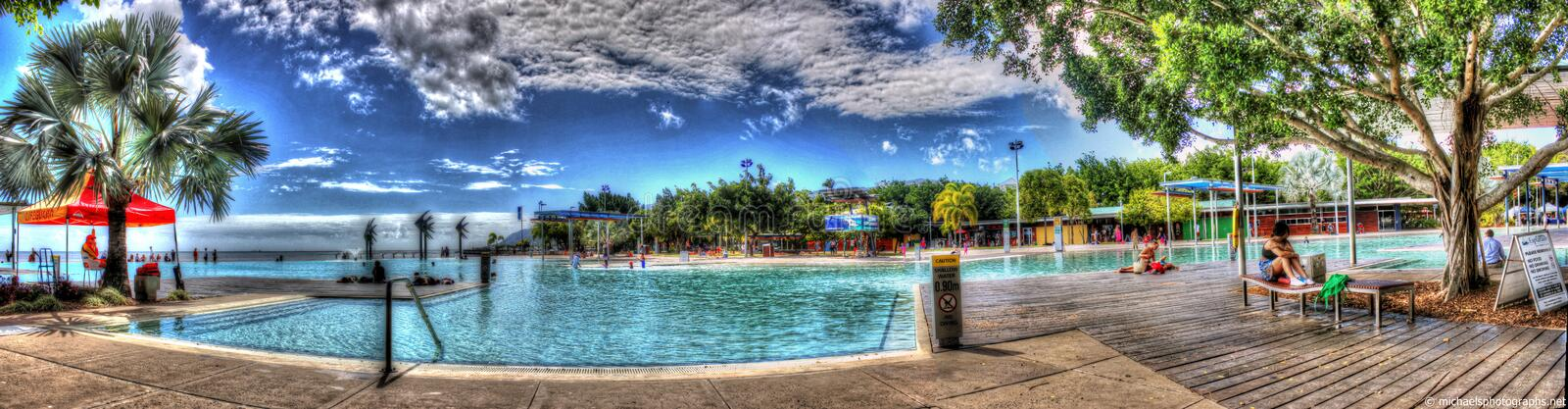 Panorama of Cairns Lagoon stock photography