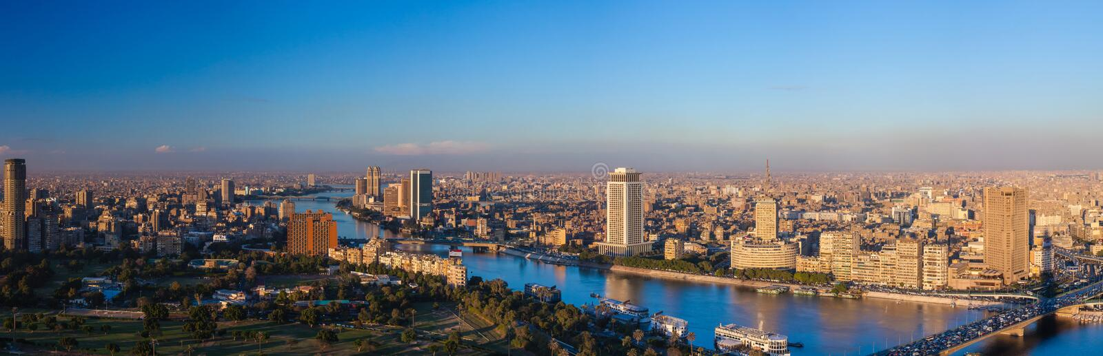 Panorama of Cairo from the Cairo TV tower at sunset stock photos
