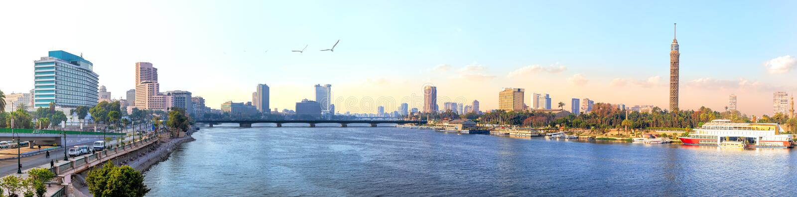 Panorama of Cairo, the Nile and Gezira island view, Egypt.  royalty free stock photography