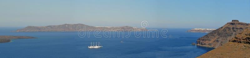 Panorama of the caldera at the Greek Island of Santorini royalty free stock image