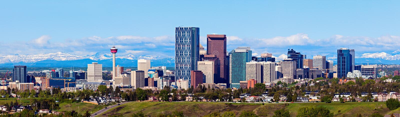 Panorama Calgary i Skaliste góry zdjęcie royalty free