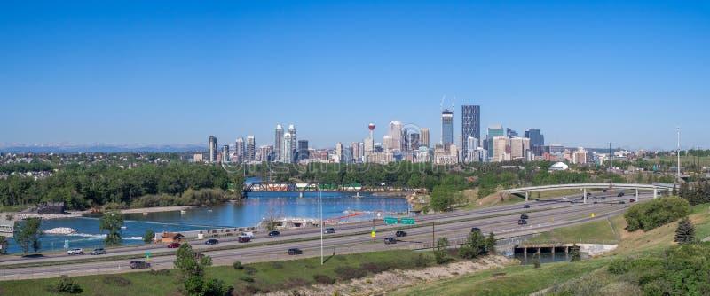 Panorama Calgary i Skaliste góry fotografia stock