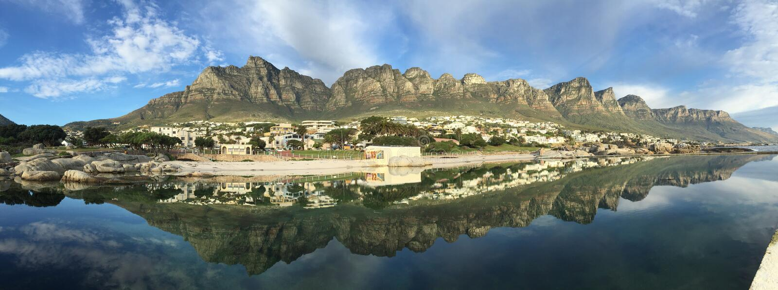 Panorama of Camps Bay, Cape Town stock image