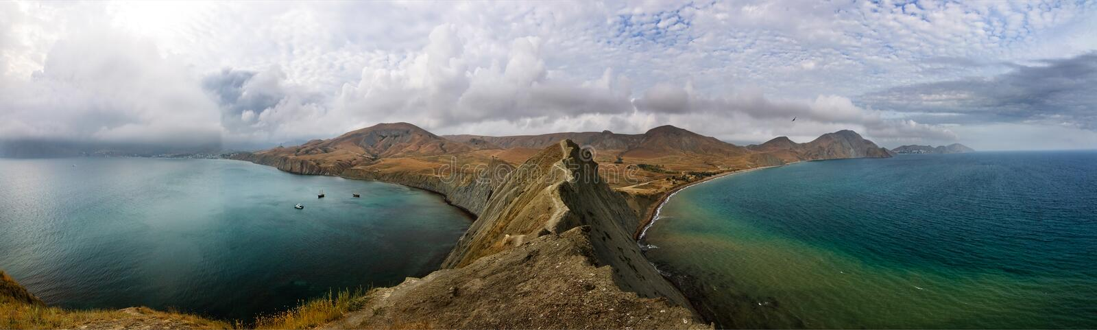 Panorama of Cape Chameleon in Crimea stock images