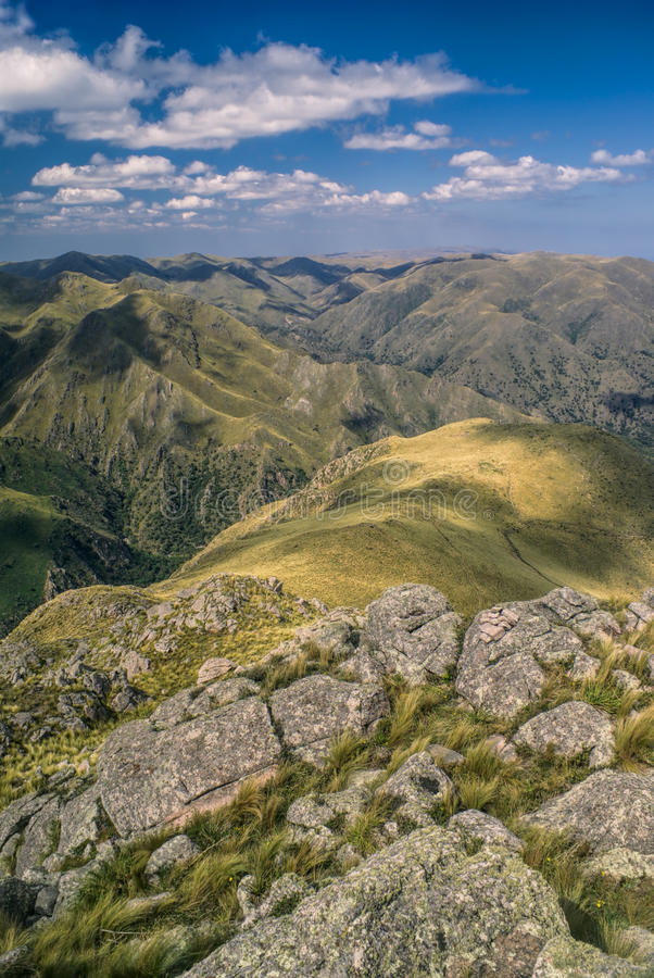 Panorama in Capilla del Monte. Picturesque landscape with mountain peaks in Capilla del Monte in Argentina, South America royalty free stock photo
