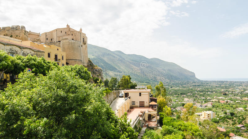 Panorama Carini, Sicily fotografia stock