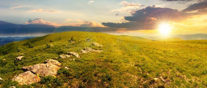 Panorama of carpathian alpine meadows at sunset stock images