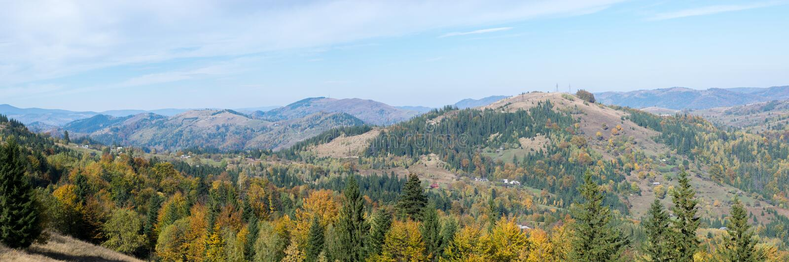 Panorama - Carpathian Mountains landscape in Autumn stock photography