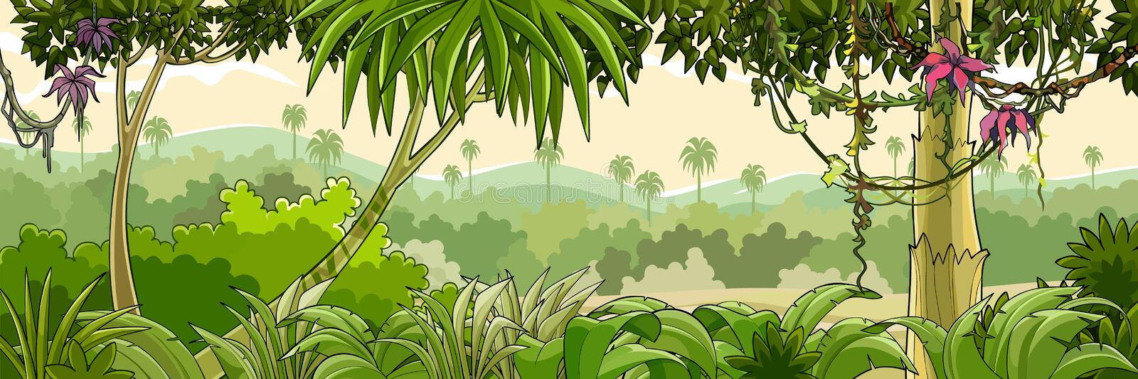 Panorama cartoon green tropical forest with palm trees. Cartoon panorama of a green tropical forest with palm trees and vines stock illustration