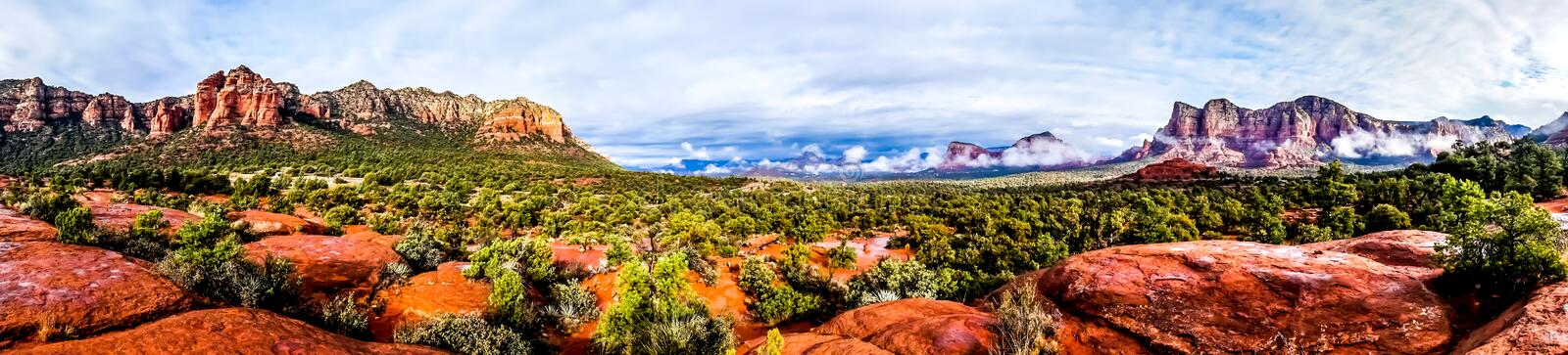 Panorama of Cathedral Mountain and Munds Mountain Wilderness royalty free stock photography