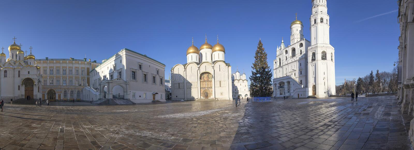 Panorama Cathedral Square with New Year Christmas tree, Inside of Moscow Kremlin, Russia. royalty free stock image
