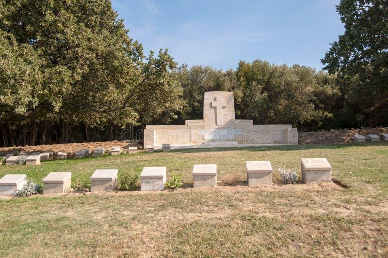 Panorama of cemetery beach at the Anzac cove in Gallipoli Gelibolu canakkale turkey beach cemetery.  stock photos